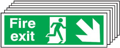 Multi pack fire signs & labels - 150 x 300 mm fire exit man arrow down right self adhesive vinyl labels 6 pack.