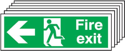 Multi pack fire signs & labels - 150 x 300 mm fire exit man arrow left self adhesive vinyl labels 6 pack.