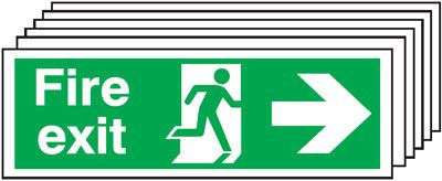 Multi pack fire signs & labels - 150 x 300 mm fire exit man arrow right self adhesive vinyl labels 6 pack.