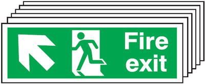 Multi pack fire signs & labels - 150 x 300 mm fire exit man arrow up self adhesive vinyl labels 6 pack.