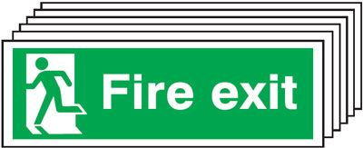 Multi pack fire signs & labels - 150 x 300 mm fire exit man left self adhesive vinyl labels 6 pack.