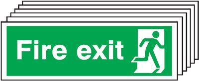 Multi pack fire signs & labels - 150 x 300 mm fire exit man right self adhesive vinyl labels 6 pack.