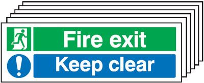 Multi pack fire signs & labels - 150 x 300 mm fire exit keep clear self adhesive vinyl labels 6 pack.