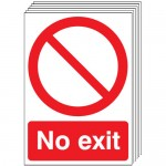 Multi pack safety signs & labels -  A4 no exit self adhesive vinyl labels 6 pack.