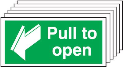 Multi pack Fire exit signs & labels -  50 x 100 mm pull to open self adhesive vinyl labels 6 pack.