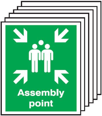 Multi pack Fire exit signs & labels -  300 x 250 mm assembly point self adhesive vinyl label 6 pack