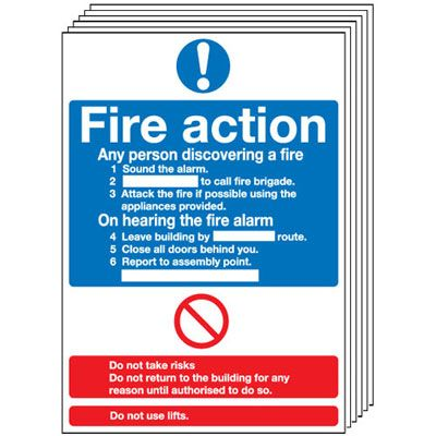Multi pack Fire exit signs & labels -  A5 fire action standard self adhesive vinyl labels 6 pack.