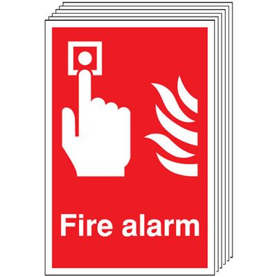 Multi pack fire alarm signs & labels -  A5 fire alarm self adhesive vinyl labels 6 pack.