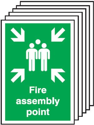 Multi pack Fire exit signs & labels -  300 x 250 mm fire assembly point self adhesive vinyl labels 6 pack