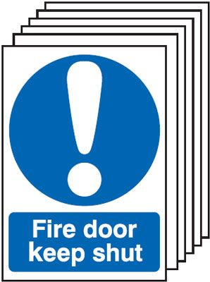 Multi pack Fire exit signs & labels -  A5 fire door keep shut self adhesive vinyl labels 6 pack.