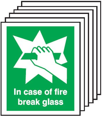 Multi pack Fire exit signs & labels -  150 x 125 mm in case of fire break glass self adhesive vinyl labels 6 pack