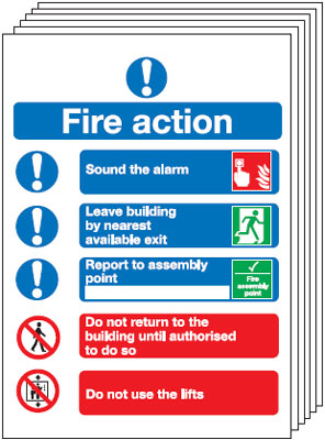 Multi pack Fire exit signs & labels -  300 x 250 mm 6-pack symbolised fire action self adhesive self adhesive vinyl labels 6 pack