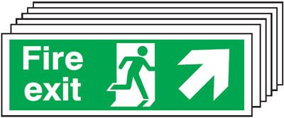 Multi pack fire signs & labels - 150 x 300 mm fire exit man arrow up right self adhesive vinyl label 6 pack