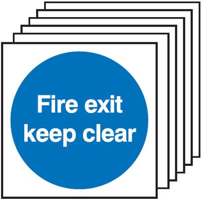 Multi pack fire signs & labels - 150 x 150 mm fire exit keep clear self adhesive vinyl labels 6 pack