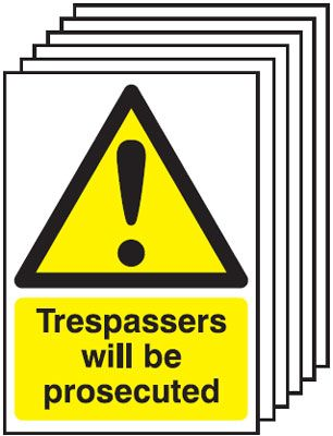 Multi pack Fire exit signs & labels -  A4 trespassers will be prosecuted self adhesive vinyl label 6 pack