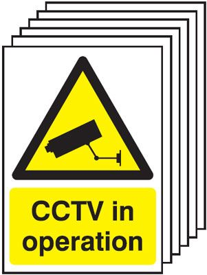 Multi pack Fire exit signs & labels -  A5 cctv in operation self adhesive vinyl labels 6 pack.