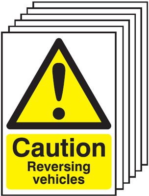 Multi pack Fire exit signs & labels -  A5 caution reversing vehicles self adhesive vinyl label 6 pack
