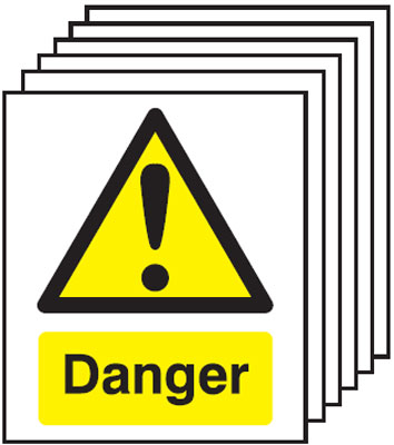 Multi pack Fire exit signs & labels -  300 x 250 mm danger self adhesive vinyl label 6 pack