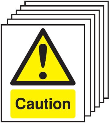 Multi pack Fire exit signs & labels -  A5 caution self adhesive vinyl labels 6 pack.