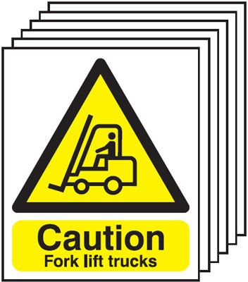 Multi pack fork lift signs & labels -  300 x 250 mm caution fork lift trucks 1.2 mm rigid plastic signs 6 pack.