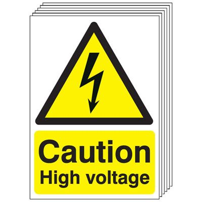 Multi pack Fire exit signs & labels -  A5 caution high voltage self adhesive vinyl labels 6 pack.