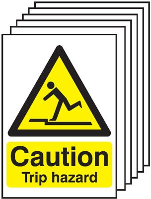 Multi pack Fire exit signs & labels -  400 x 300 mm caution trip hazard self adhesive vinyl labels 6 pack.