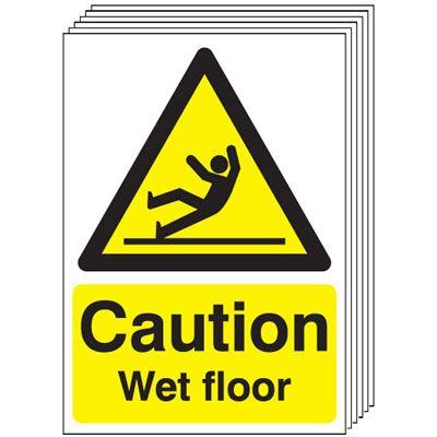 Multi pack Fire exit signs & labels -  A5 caution wet floor self adhesive vinyl labels 6 pack.