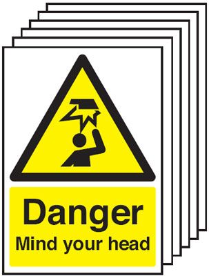 Multi pack Fire exit signs & labels -  A5 danger mIndustrial your head self adhesive vinyl labels 6 pack.