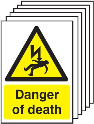 Multi pack Fire exit signs & labels -  A5 danger of death self adhesive vinyl labels 6 pack.