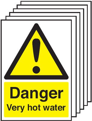 Multi pack water labels & labels -  A5 danger very hot water self adhesive vinyl labels 6 pack.