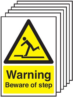 Multi pack Fire exit signs & labels -  A5 warning beware of step self adhesive vinyl labels 6 pack.
