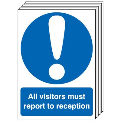 Multi pack safety signs & labels -  A5 all visitors must report to reception self adhesive vinyl labels 6 pack.