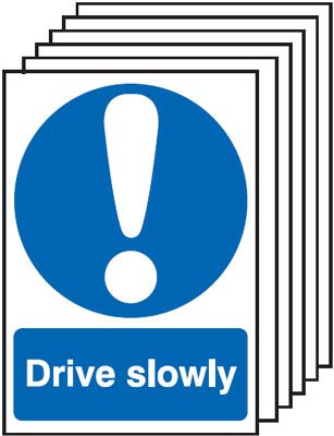 Multi pack safety signs & labels -  A5 drive slowly self adhesive vinyl labels 6 pack.