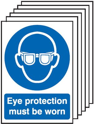 Multi pack safety signs & labels -  A3 eye protection must be worn 1.2 mm rigid plastic signs 6 pack.