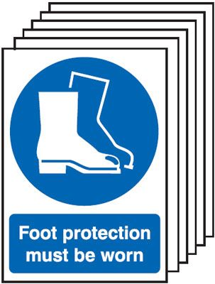 Multi pack safety signs & labels -  A5 foot protection must be worn self adhesive vinyl labels 6 pack.