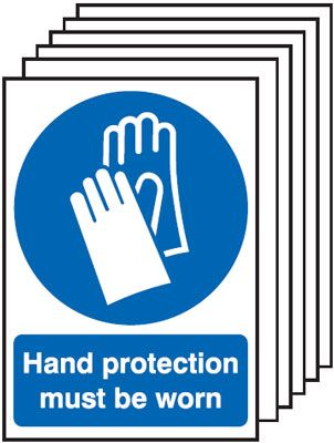 Multi pack safety signs & labels -  A3 hand protection must be worn self adhesive vinyl labels 6 pack.