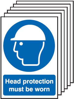 Multi pack safety signs & labels -  A5 head protection must be worn self adhesive vinyl labels 6 pack.