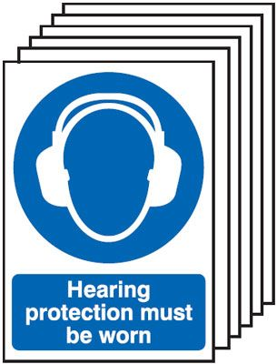 Multi pack safety signs & labels -  A5 hearing protection must be worn self adhesive vinyl labels 6 pack.