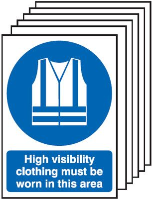 Multi pack safety signs & labels -  A5 high visibility clothing must be worn self adhesive vinyl labels 6 pack.