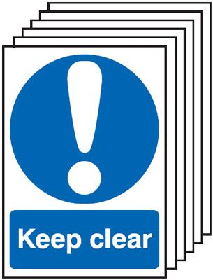Multi pack safety signs & labels -  A5 keep clear self adhesive vinyl labels 6 pack.