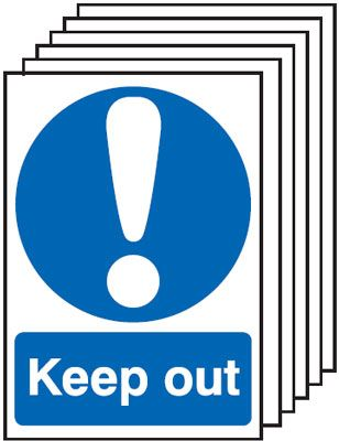 Multi pack safety signs & labels -  A5 keep out self adhesive vinyl labels 6 pack.
