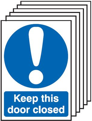 Multi pack safety signs & labels -  A5 keep this door closed self adhesive vinyl labels 6 pack.