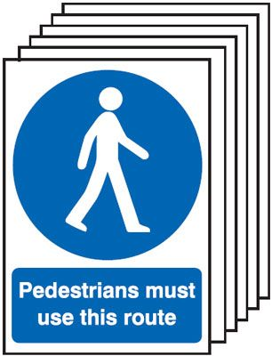 Multi pack pedestrian labels -  A5 pedestrians must use this route self adhesive vinyl labels 6 pack.