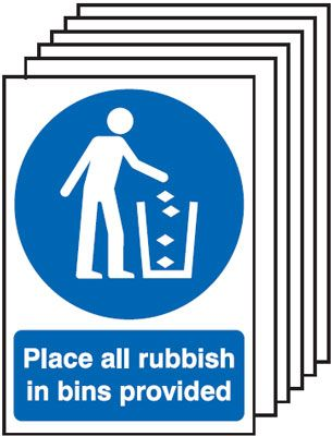 Multi pack safety signs & labels -  A5 place all rubbish in bins provided self adhesive vinyl labels 6 pack.