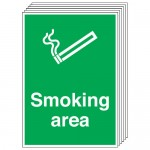 Multi pack safety signs & labels -  A5 smoking area labels self adhesive vinyl labels 6 pack.