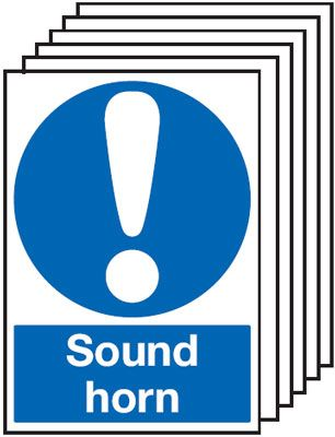 Multi pack safety signs & labels -  A4 sound horn 1.2 mm rigid plastic signs with self adhesive backing labels 6 pack.