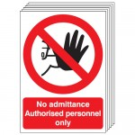 Multi pack safety signs & labels -  A5 no admittance authorised personnel self adhesive vinyl labels 6 pack.