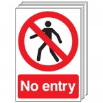 Multi pack safety signs & labels -  A5 no entry self adhesive vinyl labels 6 pack.