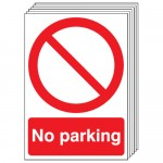 Multi pack safety signs & labels -  A4 no parking self adhesive vinyl labels 6 pack.