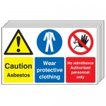 Multi pack PPE signs & labels -  300 x 500 mm caution asbestos wear protective self adhesive vinyl labels 6 pack.